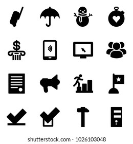 Solid vector icon set - suitcase vector, insurance, snowman, stopwatch heart, bank, mobile payment, monitor cursor, group, agreement, megaphone, career, flag, check, hammer, server
