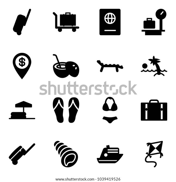 Solid vector icon set - suitcase vector, baggage, passport, scales, dollar pin, coconut cocktail, lounger, palm, inflatable pool, flip flops, swimsuit, shell, cruiser, kite