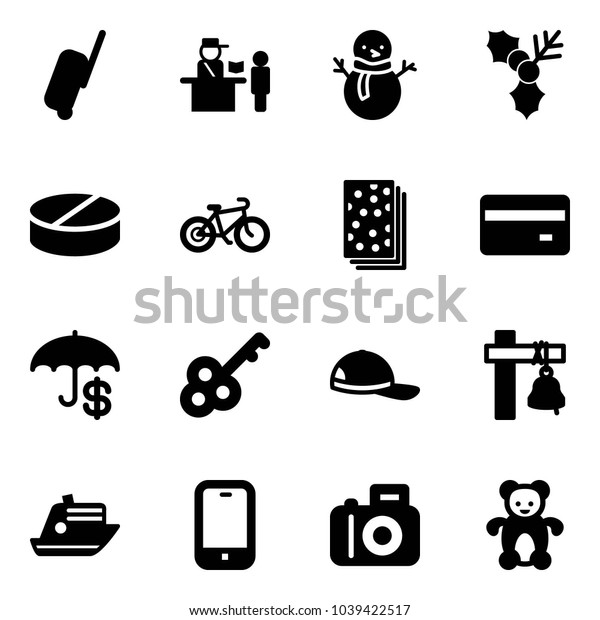 Solid vector icon set - suitcase vector, passport control, snowman, holly, pill, bike, breads, credit card, insurance, key, cap, ship bell, cruiser, mobile phone, camera, bear toy