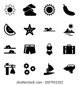 Solid vector icon set - sun vector, clouds, banana, watermelone, starfish, swimming, pyramid, flip flops, swimsuit, suitcase, ship bell, flower, windsurfing, water gun