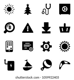 Solid vector icon set - sun vector, christmas tree, stethoscope, safe, money search, traffic light road sign, download, basket, mobile, certificate, managemet, power bank, sailboat toy, beanbag