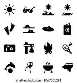 Solid vector icon set - sun vector, sunglasses, reading, mat, feet, flip flops, woman hat, passport, photo, ship bell, fire, badminton, dolphin, kite, grill, water gun