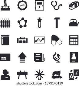 Solid vector icon set - switch box flat vector, hammer, teapot, sashimi, jam, oil production platform, windmill, eco cars, radiator, sell out, barcode, stethoscope, molecules, document, badge, globe