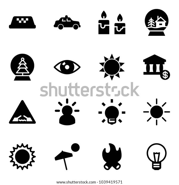 Solid vector icon set - taxi vector, safety car, candle, snowball house, tree, eye, sun, account, drawbridge road sign, idea, bulb, beach, fire