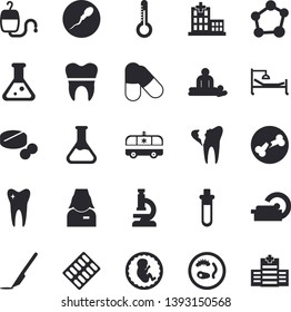 Solid vector icon set - thermometer flat vector, chemistry, pill packaging, pills, blood transfusion, hospital, bed, massage, ambulance, embryo, tomograph, nurse, scalpel, sperm, tooth, broken