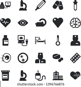 Solid vector icon set - thermometer flat vector, pill packaging, pills, vial, blood transfusion, heart, hospital, physician, microscope, bed, eye, diagnostics, ultrasound, tomograph, beakers, brain