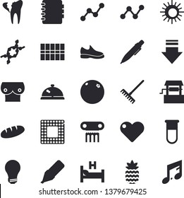 Solid vector icon set - tile flat vector, bread, pineapple, orange, well, rake, marker, scatter chart, blood test, hospital bed, breast, DNA, broken tooth, pen, bulb, cpu, sneakers, sun, jingle