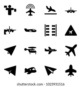 Solid vector icon set - traffic controller vector, plane radar, arrival, boarding passengers, small, seats, airport road sign, paper, helicopter, toy