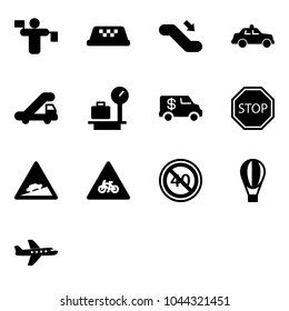 Solid vector icon set - traffic controller vector, taxi, escalator down, safety car, trap truck, baggage scales, encashment, stop road sign, climb, for moto, end minimal speed limit, air balloon