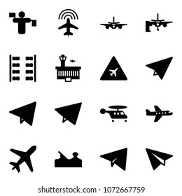 Solid vector icon set - traffic controller vector, plane radar, boarding passengers, seats, airport building, road sign, paper, fly, helicopter, jointer