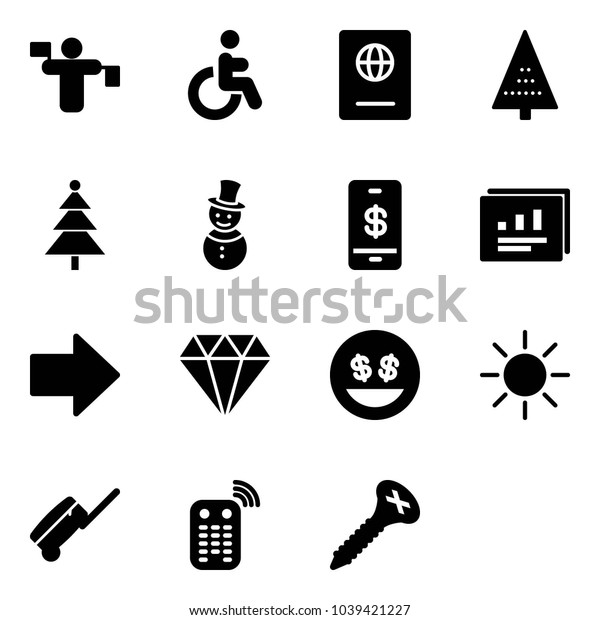 Solid vector icon set - traffic controller vector, disabled, passport, christmas tree, snowman, mobile payment, statistics report, right arrow, diamond, money smile, sun, suitcase, remote control