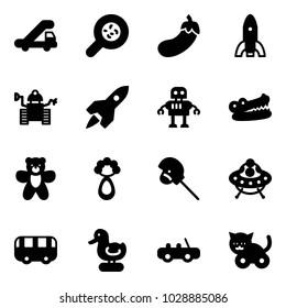 Solid vector icon set - trap truck vector, bacteria, eggplant, rocket, robot, crocodile, bear toy, beanbag, horse stick, ufo, bus, duck, car, cat