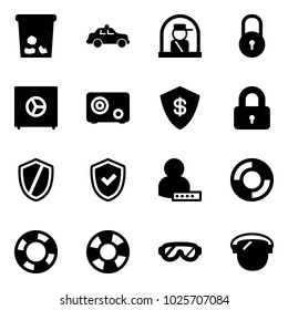 Solid vector icon set - trash vector, safety car, officer window, lock, safe, locked, shield, check, user password, lifebuoy, protective glasses, protect glass