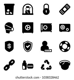 Solid vector icon set - trash vector, officer window, lock, medical patch, mask, safe, shield check, user password, lifebuoy, link, uv cream, recycling, protect glass