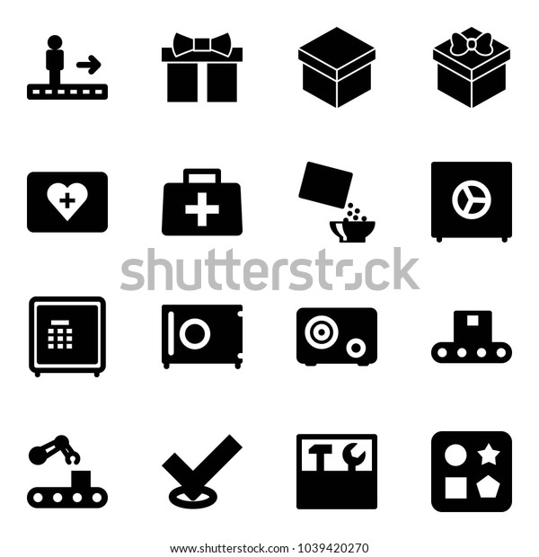 Solid vector icon set - travolator vector, gift, first aid kit, doctor bag, cereal, safe, conveyor, check, tool box, cube hole toy