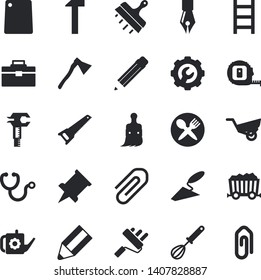 Solid vector icon set - trowel flat vector, saw, tape measure, tool bag, paint roller, repair, putty knife, ax, hammer, whisk, cutting board, brush, watering can, ladder, garden wheelbarrow, mining