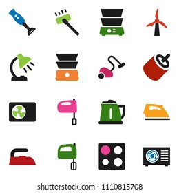 solid vector icon set - vacuum cleaner vector, iron, kettle, mixer, oven, double boiler, blender, table lamp, rca, windmill, air condition