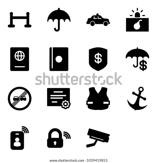 Solid vector icon set - vip zone vector, insurance, safety car, terrorism, passport, safe, end overtake limit road sign, certificate, life vest, anchor, identity card, wireless lock