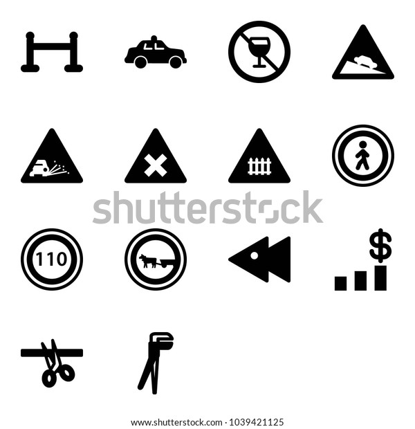 Solid vector icon set - vip zone vector, safety car, no alcohol sign, steep descent road, gravel, railway intersection, pedestrian, speed limit 110, cart horse, fast backward, dollar chart, opening