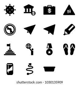 Solid vector icon set - virus vector, account, money case, oncoming traffic road sign, no left turn, paper plane, fly, highlight marker, pyramid flag, world, star medal, flip flops, drink, trip