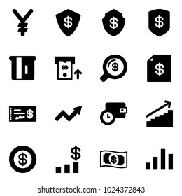 Solid vector icon set - yen vector, safe, atm, money search, account statement, check, growth arrow, wallet time, dollar, chart