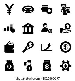 Solid vector icon set - yen vector, coin, bank, account, investment, wallet, money torch, growth arrow, dollar, bag, rich, managemet