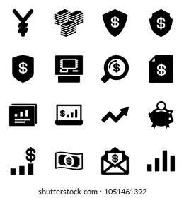 Solid vector icon set - yen vector, big cash, safe, atm, money search, account statement, statistics report, growth arrow, piggy bank, dollar chart, mail