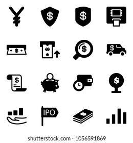 Solid vector icon set - yen vector, safe, atm, cash, money search, encashment car, account history, piggy bank, wallet time, tree, growth, ipo, dollar, chart
