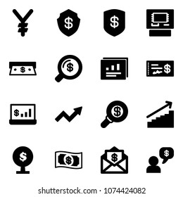Solid vector icon set - yen vector, safe, atm, cash, money search, statistics report, check, account, growth arrow, tree, mail dollar, dialog