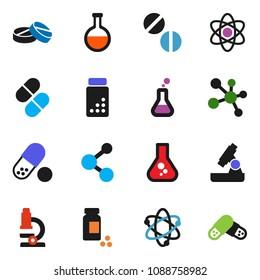solid vector ixon set - atom vector, microscope, flask, pills vial, molecule