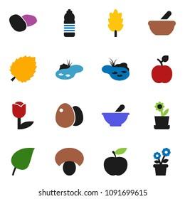 solid vector ixon set - cereal vector, egg, mushroom, potato, apple fruit, leaf, diet, water bottle, tulip, mortar, pond, flower in pot