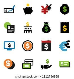 solid vector ixon set - dollar coin vector, credit card, money bag, piggy bank, investment, check, building, receipt, shield, monitor, euro sign, yen