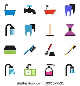solid vector ixon set - fetlock vector, mop, sponge, water tap, car, bath, toilet brush, liquid soap, shower, sink, tooth