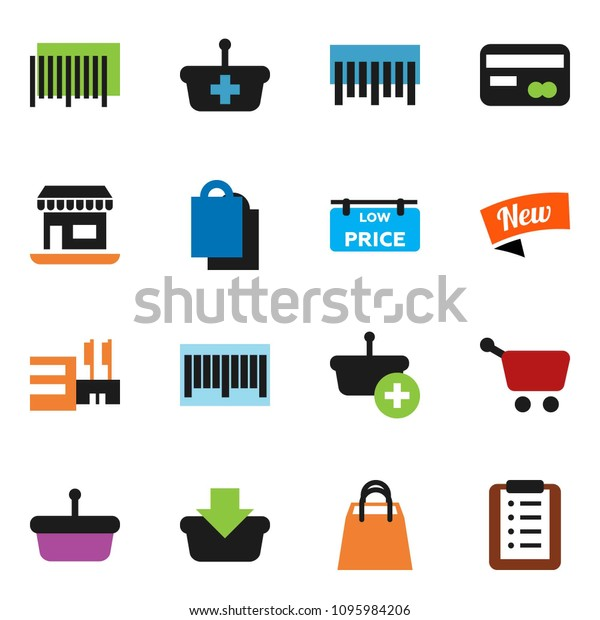 solid vector ixon set - office vector, barcode, low price signboard, credit card, new, shopping bag, mall, basket, cart, list