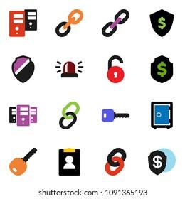 solid vector ixon set - personal information vector, dollar shield, safe, link, server, chain, unlock, key, siren
