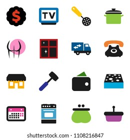 solid vector ixon set - sponge vector, shining window, pan, skimmer, meat hammer, oven, dollar medal, buttocks, phone, calendar, tv, relocation truck, wallet, store, basket