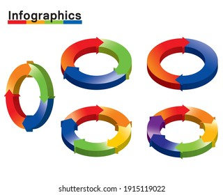 solid,3d,Infographics illustration set of charts. Chart of split circles and arrows, PDCA, business, process management.