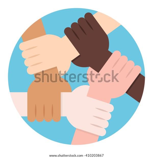 Círculo de solidaridad. Cinco manos solidarias como solidaridad interracial
