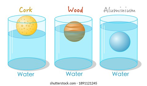 Solids of different densities. Floating or sinking in water. Measurement of density. Archimedes principle. Buoyancy force. in container; cork, wood and aluminum. School illustration vector
