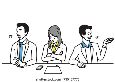 Solitary female office worker, feel stressed and frustrated, among other colleague happy and laughing. Business concept in introvert, lonely, frustration, alone, solitude, social relationship.