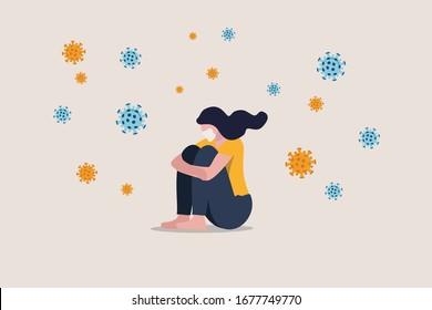 Solitude et dépression dues à la distanciation sociale, isolée rester seule à la maison dans la crise du coronavirus COVID-19, anxiété liée à l'infection virale, Triste fille déprimée assise seule avec des agents pathogènes viraux
