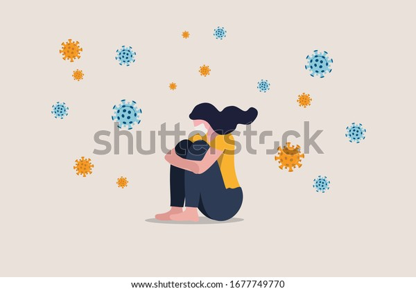 Solitude and depression from social distancing, isolated stay home alone in COVID-19 coronavirus crisis, anxiety from virus infection, Sad unhappy depressed girl sit alone with virus pathogens