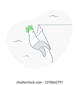 Solo climber climbs a sheer cliff. He is hanging by a cliff over the precipice. Risk, moving forward despite obstacles and dangers. Flat outline isolated vector illustration on white.