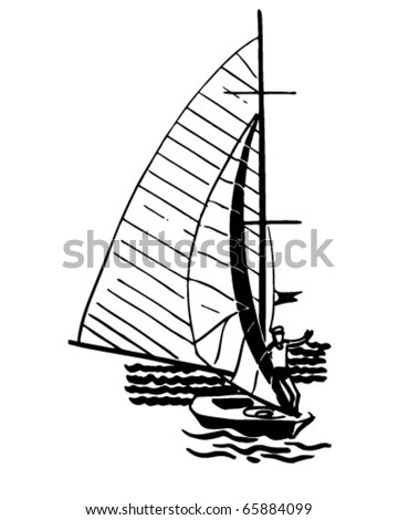 Solo Sailboater Retro Clipart Illustration Stock Vector Royalty