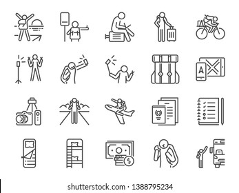 Solo traveler line icon set. Included icons as travel, vacation, tour, transport, holiday, tourism and more.