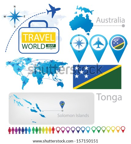 Solomon Islands World Map.Solomon Islands Australia Flag World Map Stock Vector Royalty Free