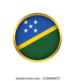 Solomon Islands flag button, Golden on a white background,flag of Solomon Islands Round badge or icon isolated. Vector illustration.