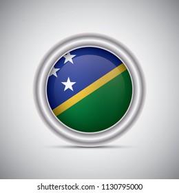 Solomon Islands flag button style. Vector image