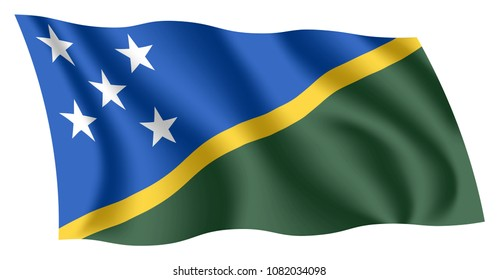 Solomon Islands flag. Isolated national flag of Solomon Islands. Waving flag of the Solomon Islands. Fluttering textile flag.