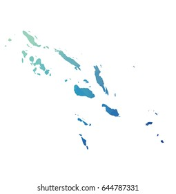 Solomon Islands map - blue geometric rumpled triangular low poly style gradient graphic background